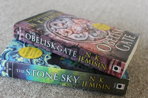 Covers of The Stone Sky and The Obelisk Gate by N.K. Jemisin (Orbit Books)